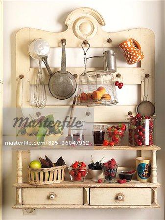Fruit on kitchen shelves