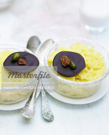 Individual almond milk polenta desserts with Mendiants