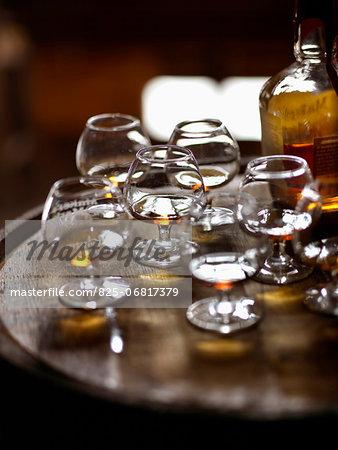 Glasses and bottle of Maker's Mark Bourbon