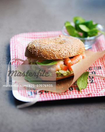 Shrimp,guacamole and spinach burger