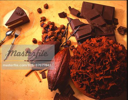 Cocoa bean,chocolate truffles,chocolate cake and chocolate bars