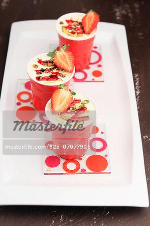 Strawberry mousse,pistachio and lemon Verrines