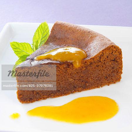 Chocolate cake with mango sauce