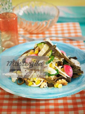 Sea thong,radish,zucchini,sweet corn and walnut salad