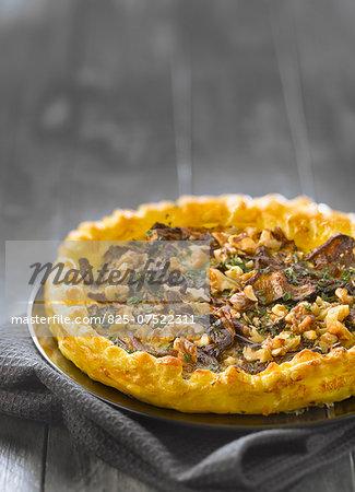 Cep and walnut flaky pastry tart