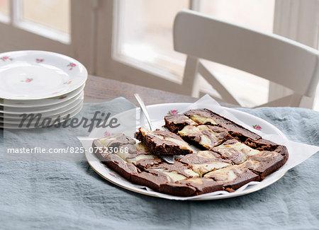 Dark and white chocolate brownies