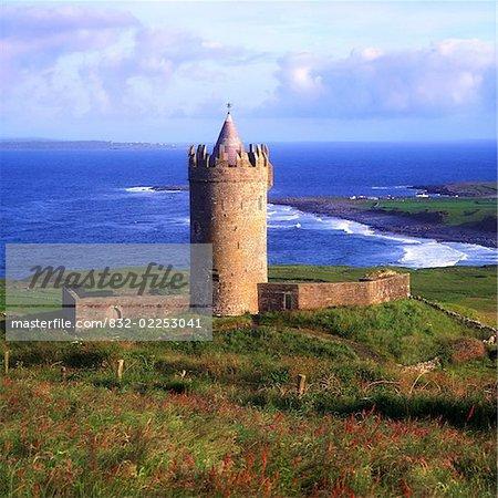 Doonagore Castle, Co Clare, Ireland, 16th Century tower house overlooking the Atlantic Ocean