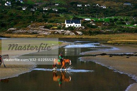 Derrynane, County Kerry, Ireland, Horseback riding on beach