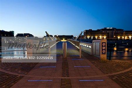 Sean O'Casey Bridge, River Liffey Dublin City, Ireland; City pedestrian bridge over river