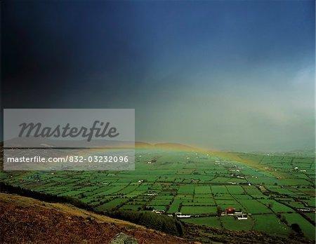 Rainbow over fields in Slieve Gullion, Co Armagh, Ireland