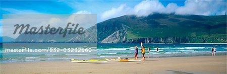 Keel, Achill Island, Co Mayo, Ireland; Canoeing at a bay in Ireland at the Atlantic