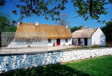 Bunratty Folk Park, Co Clare, Ireland; Cottages In A Folk Park