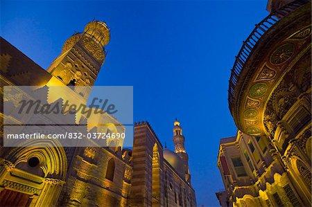 Madrasa of Barquq Mosque illuminated at dusk