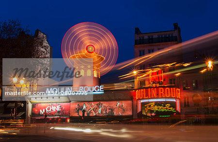Moulin Rouge at dusk; Paris, France