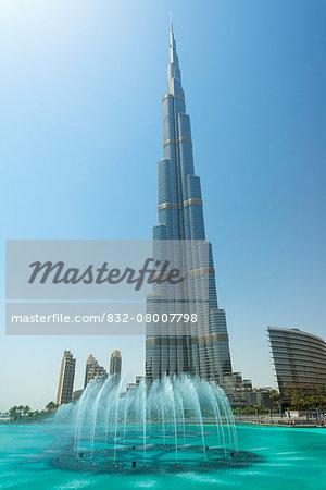 Fountains in front of the Burj Khalifa; Dubai, United Arab Emirates