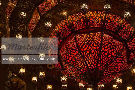 Detail of large light fixture in shopping mall; Dubai, United Arab Emirates