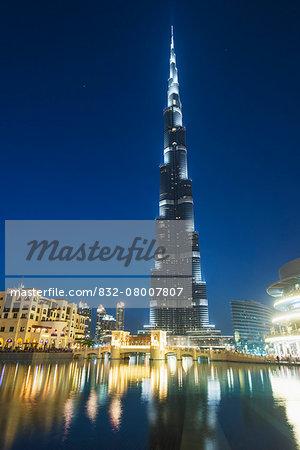 The Burj Khalifa at dusk; Dubai, United Arab Emirates