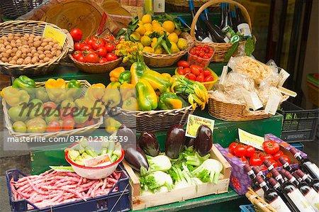 Vegetables at a market stall, RioMaggiore, Cinque Terre, La Spezia, Genoa, Liguria, Italy