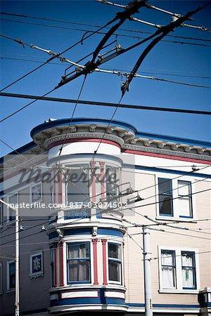 Victorian style houses in a city,Haight-Ashbury,San Francisco,California,USA