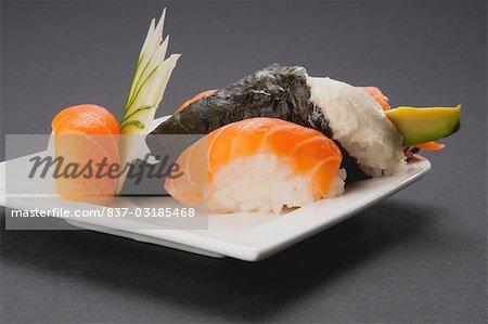 Close-up of salmon sushi
