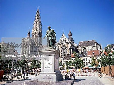 Statue of Rubens, cathedral, and Groen Plaats, Antwerp, Belgium, Europe