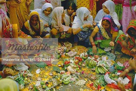 Women at the Lakshmi Puja Festival celebrating Lakshmi, the Hindu Goddess of Wealth and Beauty, India