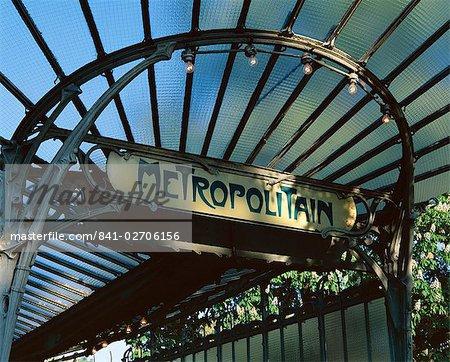 Close-up of Metropolitain (metro) station entrance, art nouveau style, Paris, France, Europe