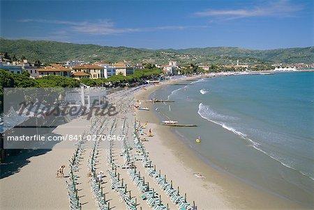 Beach front and town view, Diano Marina, Italian Riviera, Liguria, Italy, Europe