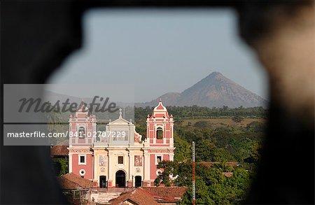 Calvario church and volcano, Leon, Nicaragua, Central America