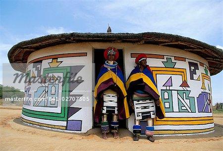Nbelle (Ndbele) ladies outside house, Mabhoko (Weltevre) Nbelle village, South Africa, Africa
