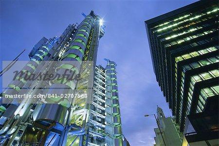 Lloyds Building at night, City of London, London, England, United Kingdom, Europe
