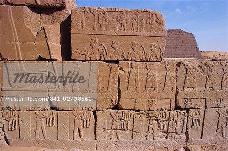 Heiroglyphic carvings, Bajrawiya, the Pyramids of Meroe, Sudan, Africa