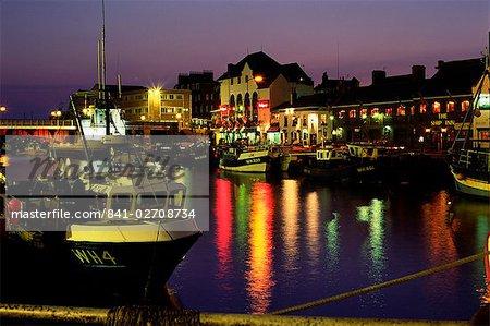 The Old Harbour, illuminated at dusk, Weymouth, Dorset, England, United Kingdom, Europe