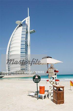 Lifeguard on the beach, Burj Al Arab Hotel, Dubai, United Arab Emirates, Middle East