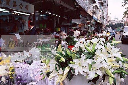 White lilies, flower market, Mong Kok, Kowloon, Hong Kong, China, Asia