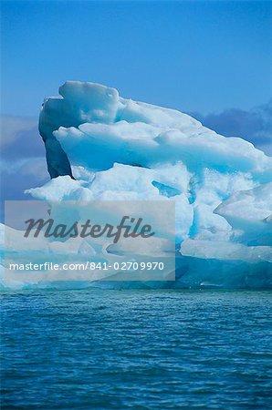 Ice formed under pressure appears blue, Monaco glacier, Leifdefjorden, Spitsbergen, Svalbard, Norway, Scandinavia, Europe