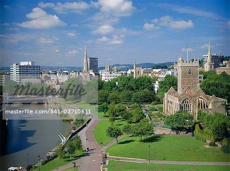 City centre from Castle Green, Bristol, Avon, England, United Kingdom, Europe