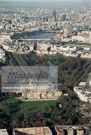 Aerial view including Buckingham Palace, London, England, United Kingdom, Europe
