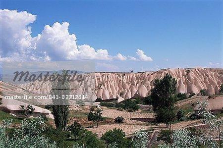 Eroded landscape surrounding Goreme, Cappadocia, Anatolia, Turkey, Asia Minor, Asia