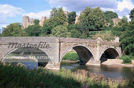 Dinham Bridge and castle, Ludlow, Shropshire, England, United Kingdom, Europe