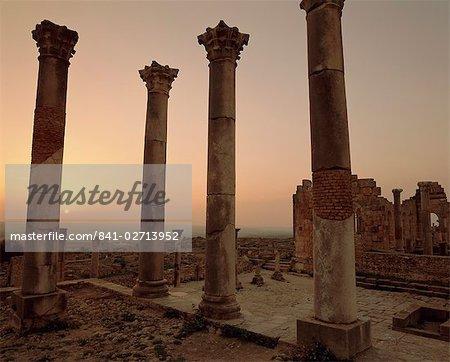Roman ruins, Volubilis, Morocco, North Africa, Africa