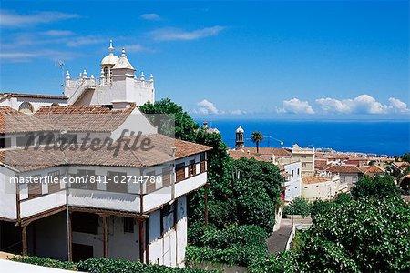 Houses and sea view, La Orotava, Tenerife, Canary Islands, Spain, Atlantic, Europe