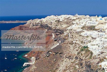Aerial view of Oia village and coastline, Oia, Santorini (Thira), Cyclades islands, Greece, Mediterranean, Europe