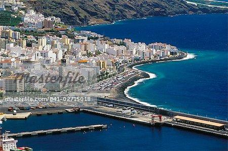 Aerial view of Santa Cruz de la Palma and harbour, Santa Cruz de la Palma, La Palma, Canary Islands, Spain, Atlantic, Europe