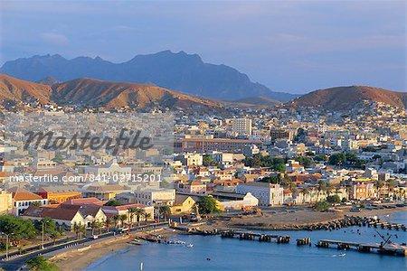 Town of Mindelo, capital of Sao Vicente, Cape Verde Islands, Atlantic Ocean