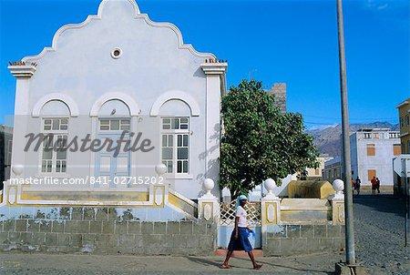 Street scene in Porto Novo, on the south coast of Santo Antao, Cape Verde Islands, Atlantic Ocean