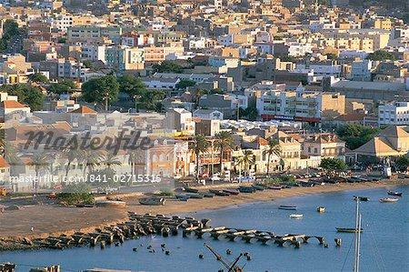 Aerial view of Mindelo, island of Sao Vicente, Cape Verde Islands, Africa