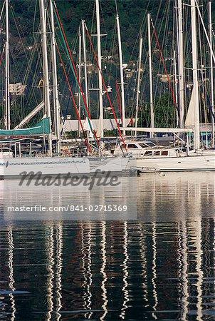 Pleasure boat harbour, Victoria, north east coast, island of Mahe, Seychelles, Indian Ocean, Africa