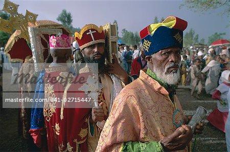 Portrait of men in procession during the Christian festival of Rameaux, Axoum (Axum), Tigre region, Ethiopia, Africa