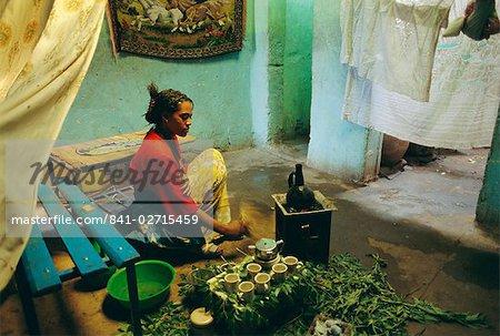 Coffee ceremony, Abi-Adi, Ethiopia, Africa